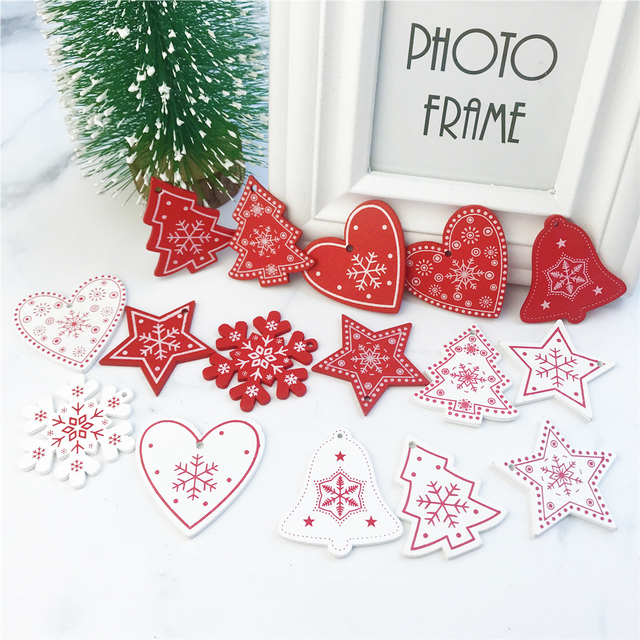 10pcs Christmas and New Year Natural Wooden Hanging Ornament
