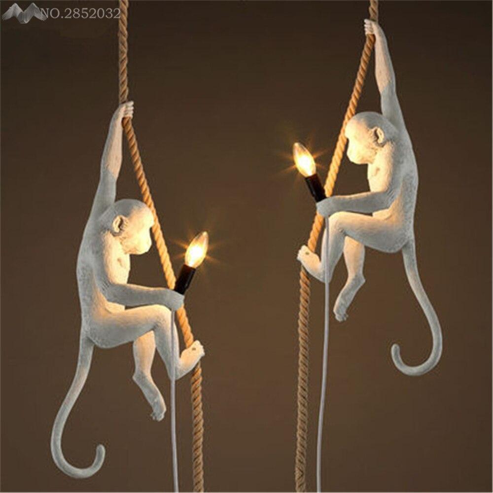 Loft style moderne à la main résine singe edison pendentif lampe chanvre corde pendentif lumière