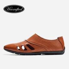 Moccasins Mens Breathable Split Leather Designer Fashion Brand Casual Summer Men Loafer #A2019DD