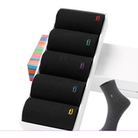 ZOCBBT 5 Pairs Men Sock Pure Black Cotton Winter Keep Warm Suit Antibacterial Deodorant Sweat Soft