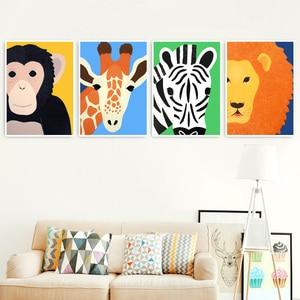 Image 1 - 코끼리 사자 원숭이 기린 하마 얼룩말 북유럽 포스터와 지문 벽 아트 캔버스 회화 벽 그림 아기 어린이 방 장식