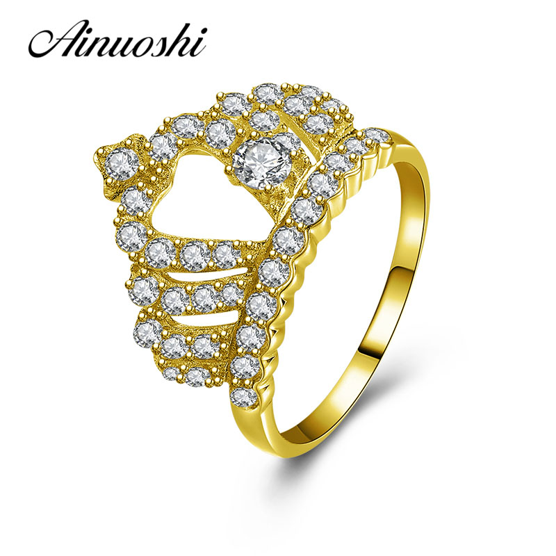 AINUOSHI Brilliant Queen Crown Ring 10K Solid Yellow Gold Women Jewelry Engagement Wedding Birthday Party Ring Anniversary Ring ainuoshi exquisite queen crown ring 10k solid yellow gold flower ring women jewelry engagement wedding birthday party heart ring