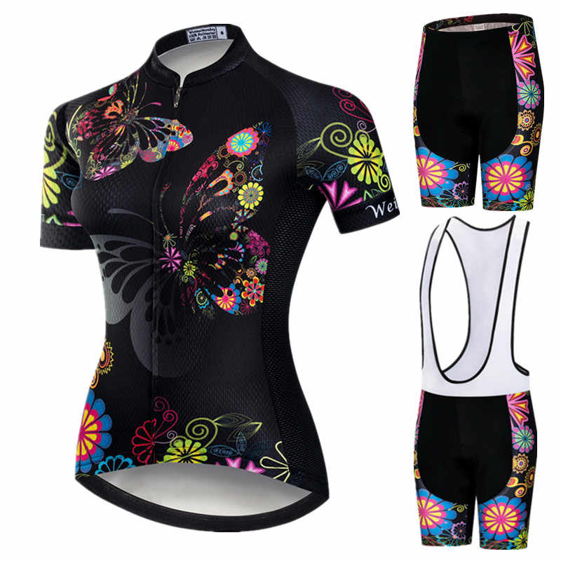 Weimostar 2019 Pro Bersepeda Pakaian Wanita Tim Suit Sepeda Sepeda Gunung Anti Sinar UV Sepeda Jersey Lengan Pendek untuk Bersepeda Set