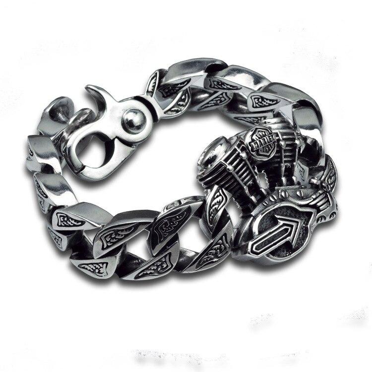 Chain Link Bracelets sterling 925 silver vintage jewelry thai silver retro hip hop motor engine big
