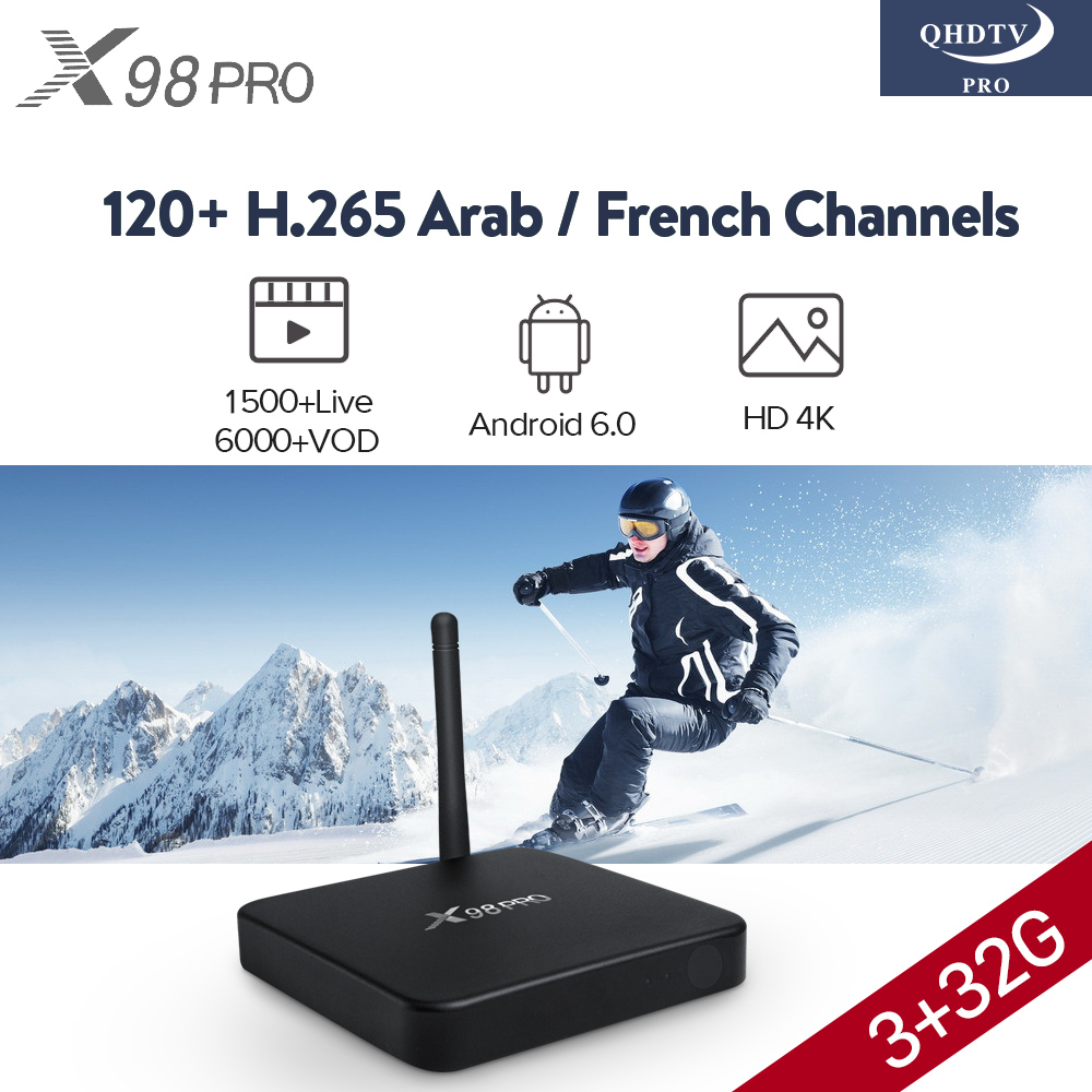 3GB X98 PRO 912 TV Box IPTV French Arabic Subscription 1 Year QHDTV PRO Code Smart Android 6.0 Europe French Arabic IPTV Top Box smart 4k x98 pro tv box android 6 0 2g 16g amlogic s912 subtv iptv subscription 8000 vod iptv europe french arabic iptv box