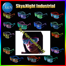 100PC/Lot EL wire two colors mix flashing glasses LED glasses EL glasses Shutter Glasses mix color