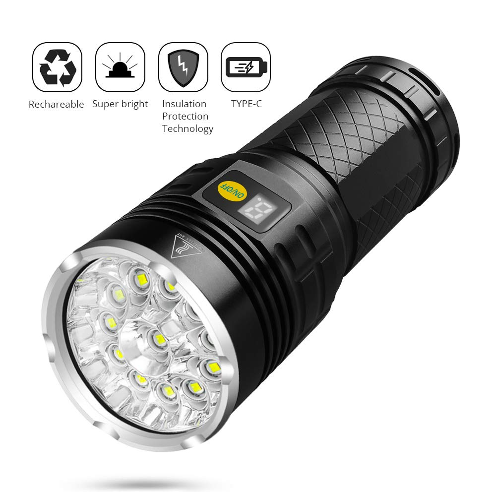 10000 Lumen Super Bright Led Flashlight Rechargeable Type-C 12xLED 4 Modes Torch With Power Display Function Built-in Batteries