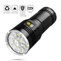 10000 Lumen Super Bright Led Flashlight Rechargeable Type C 12xLED 4 Modes Torch with Power Display Function Built in Batteries