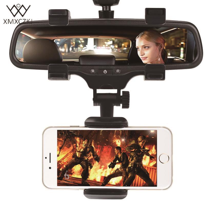 Soporte para teléfono de coche XMXCZKJ espejo retrovisor de coche soporte de teléfono 360 grados para iPhone Samsung GPS Smartphone soporte Universal