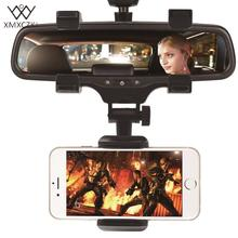 XMXCZKJ Universal 360 Degrees Car Rearview Mirror Mount Phone Holder Phone Holder Stands For iPhone  Samsung HTC GPS Smartphone