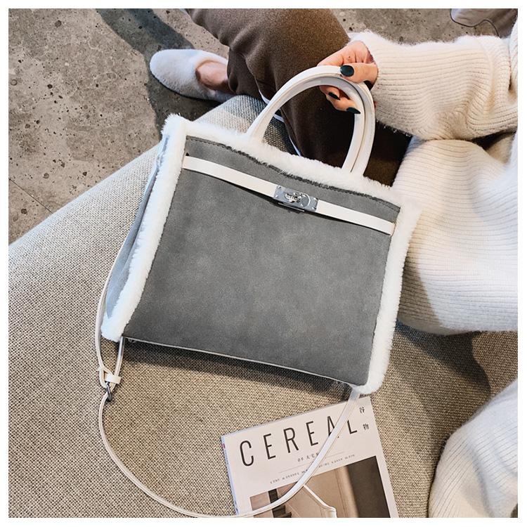 Korean handbag large capacity bucket hand bag designer big tote designer Fur women messengerc winter shopping wool no lock 88