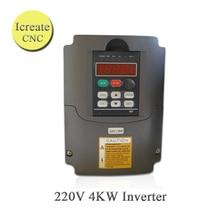 Frete Grátis HY VFD 220 V Acionamento Do Motor Inversor 4KW Inversor 220 V 4000 W 3-fase Inversor Spindle Inversor de Freqüência para o Motor VFD