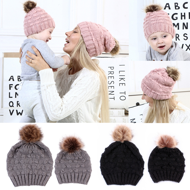 162f84af396ba 2018 Winter Warm Fur Ball Parent-child Caps Knit Casual Hats Mom Baby Winter  Beanies