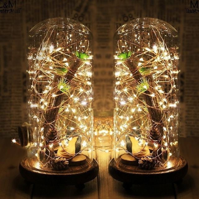 LED Christmas String lights 1 10M Silver Wire Fairy Garland Home Wedding Party Decoration Powered by