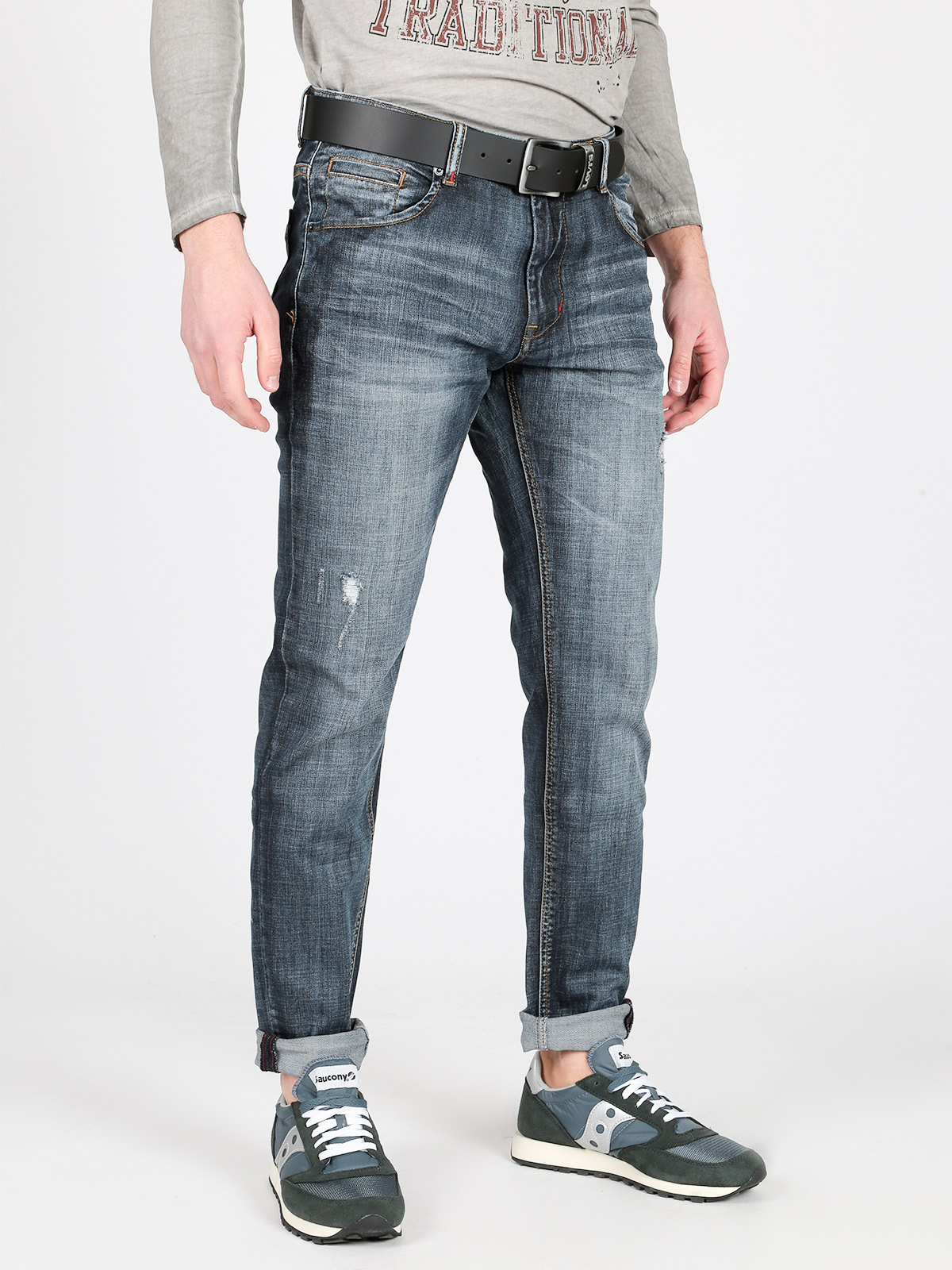Jeans Straight Leg With Tear