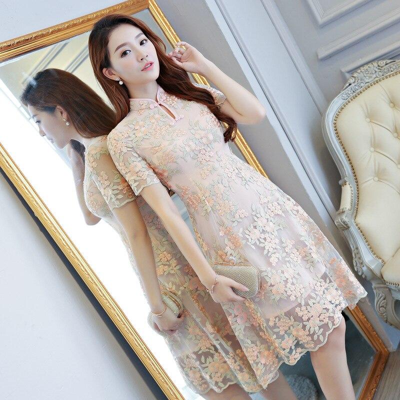 Arrivée Court Mode Robe Nouvelle Courtes Taille Mince Manches Chinois xxl À Dentelle 5215 Qipao Cheongsam Mandarin S De Fleur Col Femmes GVUzpSqM