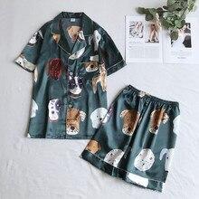 Одежда для сна с принтом собаки для мужчин и женщин, пижамные комплекты, повседневный Атласный халат для пар, домашняя одежда, летние пижамы, 2 шт., рубашка и шорты, пижамный комплект