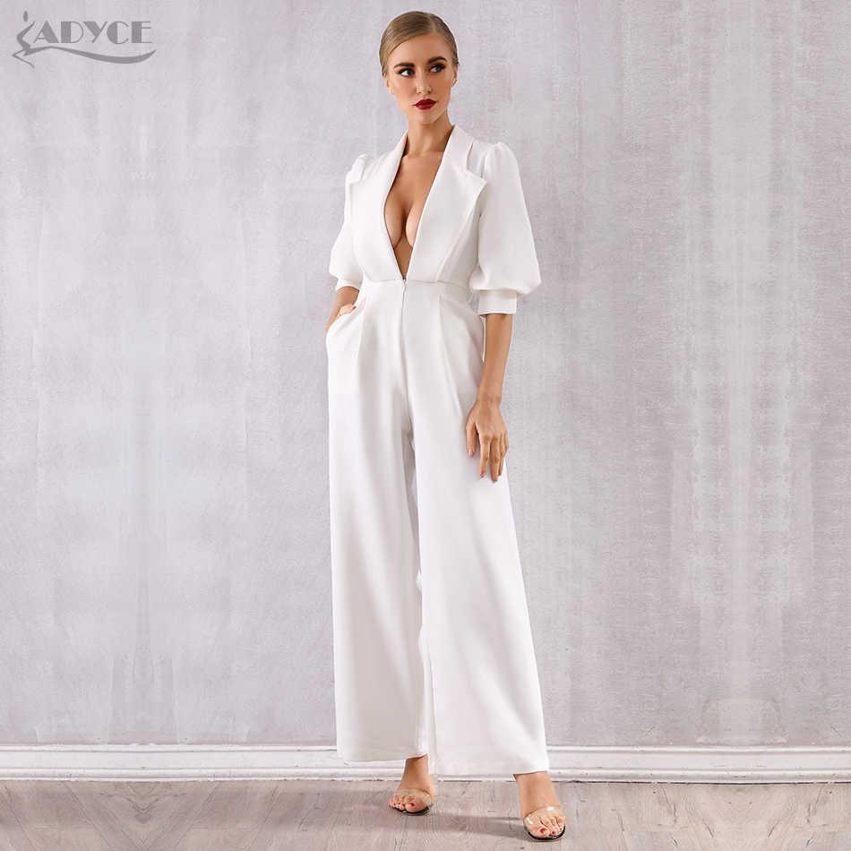 Adyce 2019 חדש סלבריטאים מסלול סרבל נשים סקסי לבן עמוק V-צוואר ארוך שרוול Sashes Rompers סרבל סקסי Bodycon Bodysuits