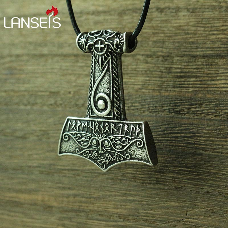 lanseis 10pcs viking men necklace Mjolnir pendant Thor s hammer Norse God jewelry Maxine Miller runes