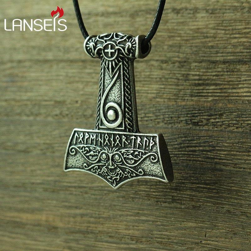 Lanseis 10 sztuk viking mężczyźni naszyjnik Mjolnir wisiorek młot thora Norse bóg biżuteria Maxine Miller runy Wiccan wisiorek w Naszyjnik z wisiorkiem od Biżuteria i akcesoria na  Grupa 1