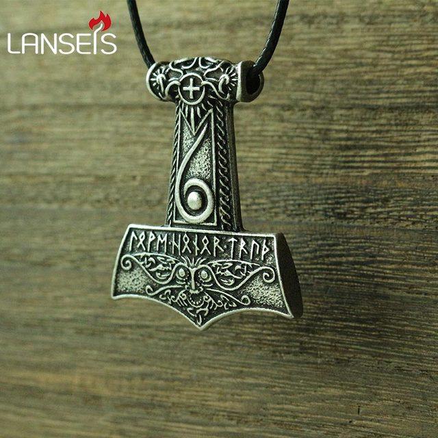 Lanseis 10pcs Viking Men Necklace Mjolnir Pendant Thor S Hammer Norse God Jewelry Maxine Miller Runes Wiccan Pendant In Pendant Necklaces From Jewelry