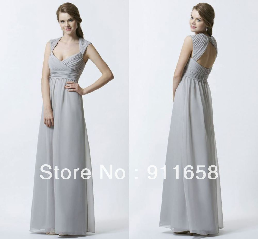 Light gray v neck a line floor length cap sleeves chiffon light gray v neck a line floor length cap sleeves chiffon bridesmaid dresses custom made long sexy formal beach summer gowns in bridesmaid dresses from ombrellifo Choice Image