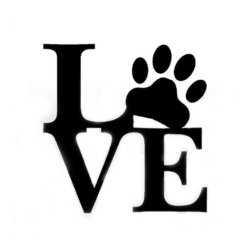 (50 pieces  /lot) Wholesale LOVE PAW Car Vinyl Sticker Car Window Decal Cute Animal Pet Dog Wall Art Car Styling Car Accessories halloween decor sticker 3d transparent car back rear window decal vinyl sticker horror monsters zombie