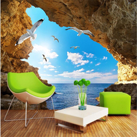 Custom 3d Wall Wallpaper 3d Art Background Photography Ocean Reef Cave Gulls In The Flying Bedroom