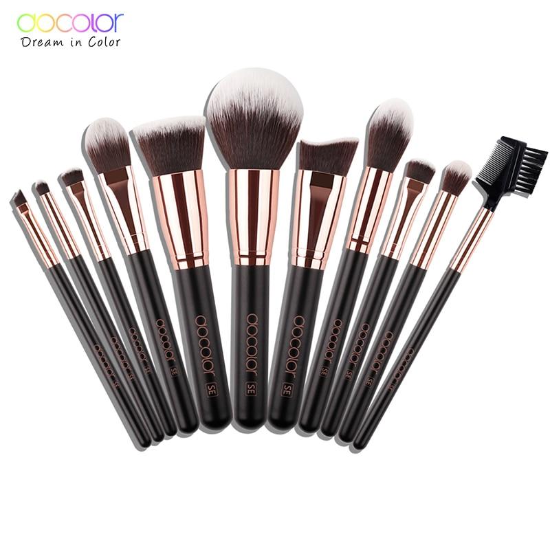 Docolor 15pcs Brushes For Makeup Brushes Set Professional Natural Hair Make Up Brush With Bag Eye Shadow Foundation Powder Brush