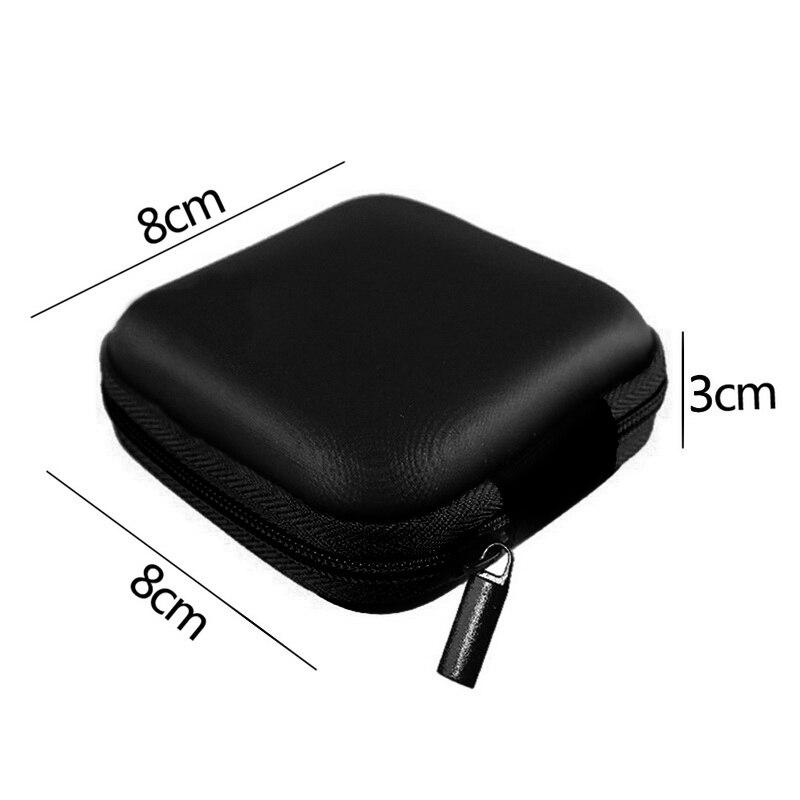 Чехол-контейнер для монет, наушников, защитная коробка для хранения, цветные наушники чехол для путешествий, сумка для хранения наушников, кабель для передачи данных, зарядное устройство - Цвет: Black Square 8x8cm