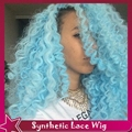 Ombre Blue Afro Kinky Curly Synthetic Lace Front Long Fashion Curly Hair Synthetic Lace Front Wig Baby Hair 1b#/Blue 150%