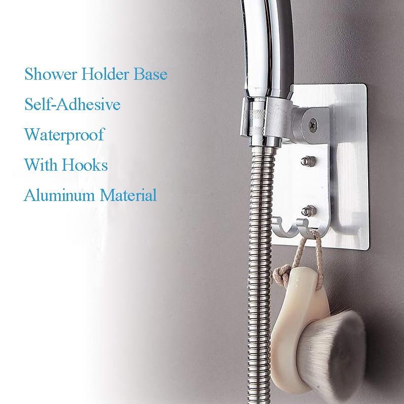 ZhangJi Seamless Bathroom Accessory Adjustable Self adhesive showerhead Holder hooks Rustproof Aluminum Shower Holder No drill in Bath Hardware Sets from Home Improvement