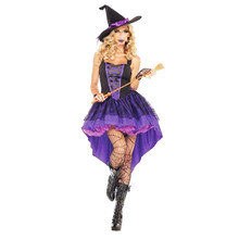 Women Halloween Witch Costume Set Sorceress Fancy Dress for Role Play Includes Gloves and Hat Size XXL(China)