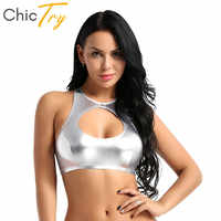 ChicTry Women Shiny Faux Leather Sleeveless Dance Crop Tops Festival Rave Club Party Stage Pole Dance Costume Slim Fit Sexy Tops