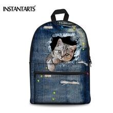 Instantarts 3D Симпатичные животные кошка деним печати Рюкзаки Для женщин холст Сумки для подростков Обувь для девочек Повседневное путешествия ноутбук рюкзаки