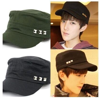 мужские кепка мужчины в винтажный оливка черный курсант кепка военный шляпа xx15