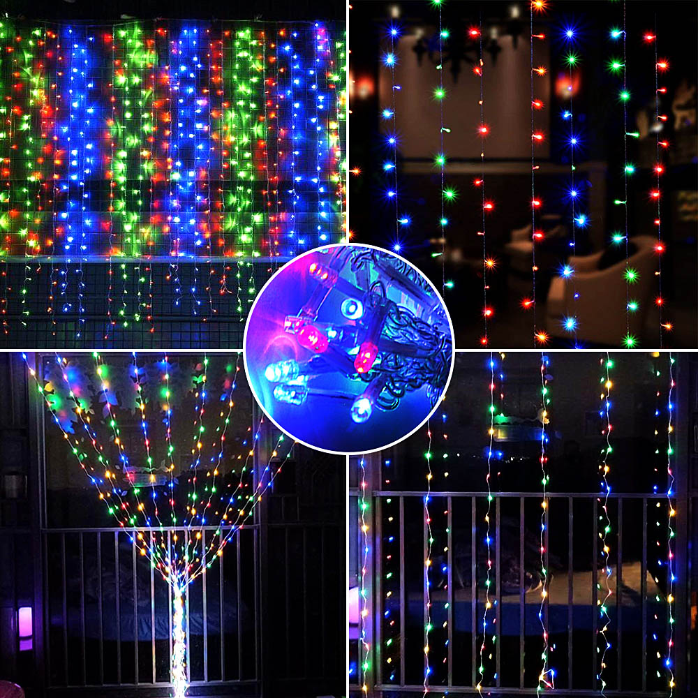 2x2/3x3/6x3m Light Chain Garland Holiday LED Curtain Fairy String Lights Outdoor Lighting For Home Wedding Decoration Patio Lamp
