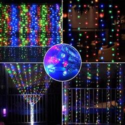 2x2/3x3/6x3m corrente de luz guirlanda férias cortina led luzes da corda de fadas ao ar livre iluminação para casa decoração de casamento lâmpada do pátio