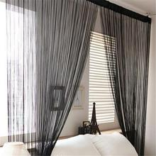 Door Windows Curtains for Living Room 200cm x 100cm Divider Yarn String Curtain Strip Tassel Drape Decor Elegant Style Curtains(China)