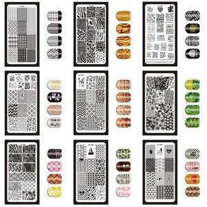 Image 1 - 12*6 см 32 дизайна геометрические английские буквы фотопластины для самостоятельного польского рисунка пластины для рисунка инструменты для маникюра