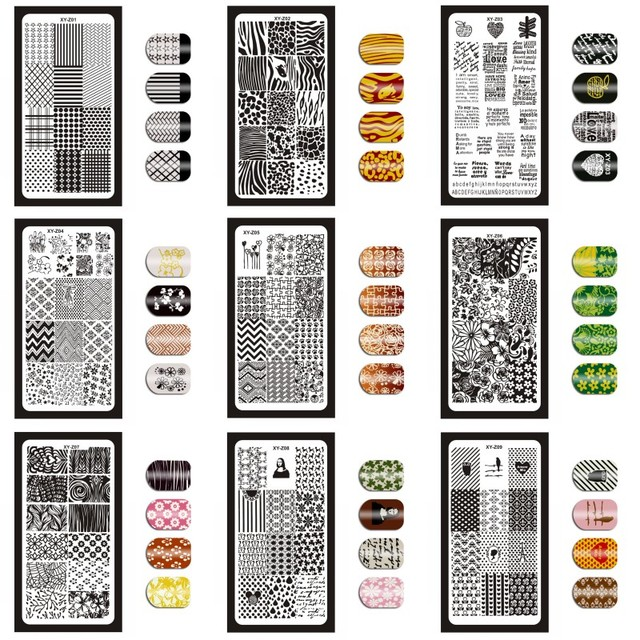 12*6cm 32 Designs Geometry English Letter Nail Art Stamping Template Plates DIY Polish Print Image Plates Manicure Tools XYZ1 32