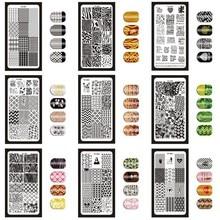 12*6cm 32 conceptions géométrie anglais lettre Nail Art estampage modèle plaques bricolage polonais impression Image plaques manucure outils XYZ1 32