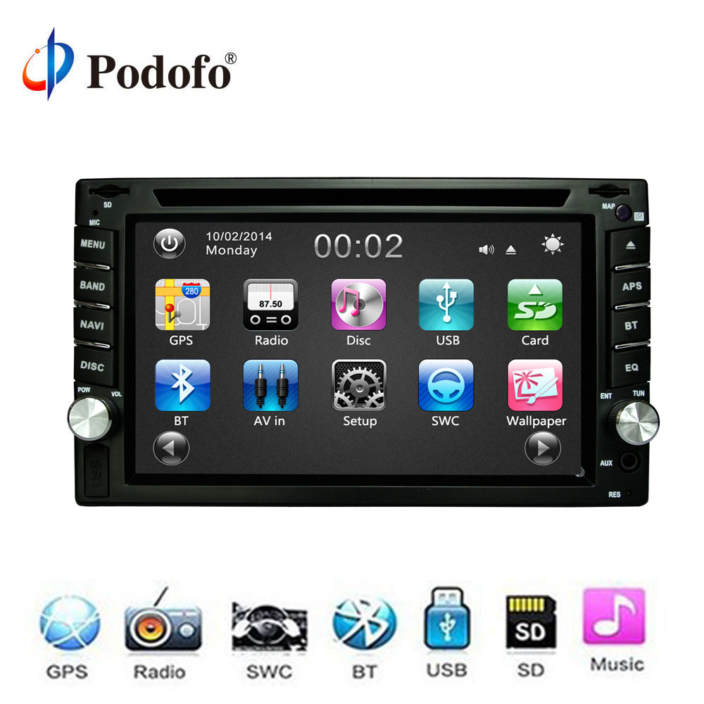 Podofo Car DVD player GPS Radio Bluetooth 2 din FM/USB/SD Car Multimedia Player Touch Screen Car Radio Stereo In Dash Free Map universal 6 2 touch screen car dvd player 2 din car radio stereo with fm am usb sd bluetooth tv without gps