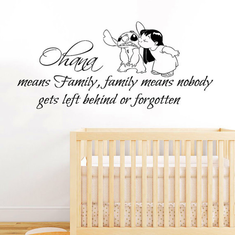 Lilo Stitch Wall Decal Quote Ohana Family Means Nobody Gets Left Behind Or  Forgotten Vinyl Sticker Kids Nursery Baby Room Decor