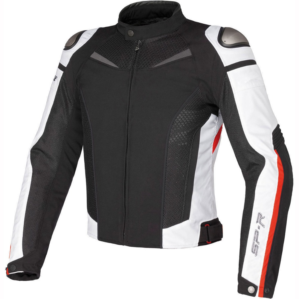 Titanium Super Speed Textile Dain Jacket Motorcycle Racing Protect Motocross Black White Red