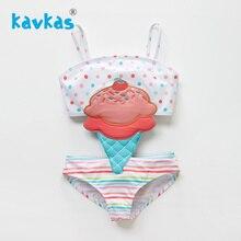 Kavkas/летний купальник для маленьких девочек с вышивкой в виде мороженого; цельный купальник в стиле пэчворк; пляжная одежда для девочек; купальный костюм для малышей