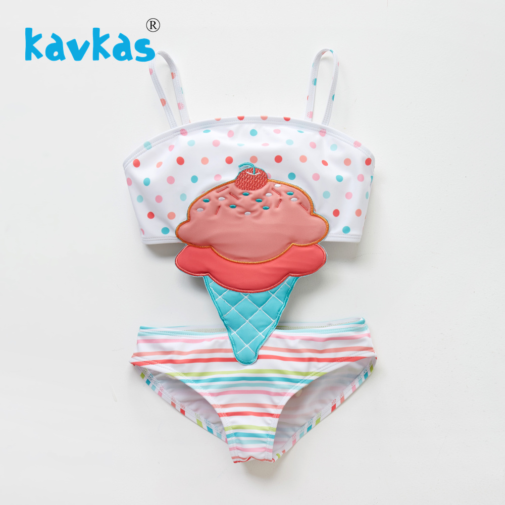 Kavkas Summer Baby Girls Cartoon Ice Cream Embroidery Swimwear One Piece Patchwork Kids Girls Beach Wear Swimsuit Baby Bathing