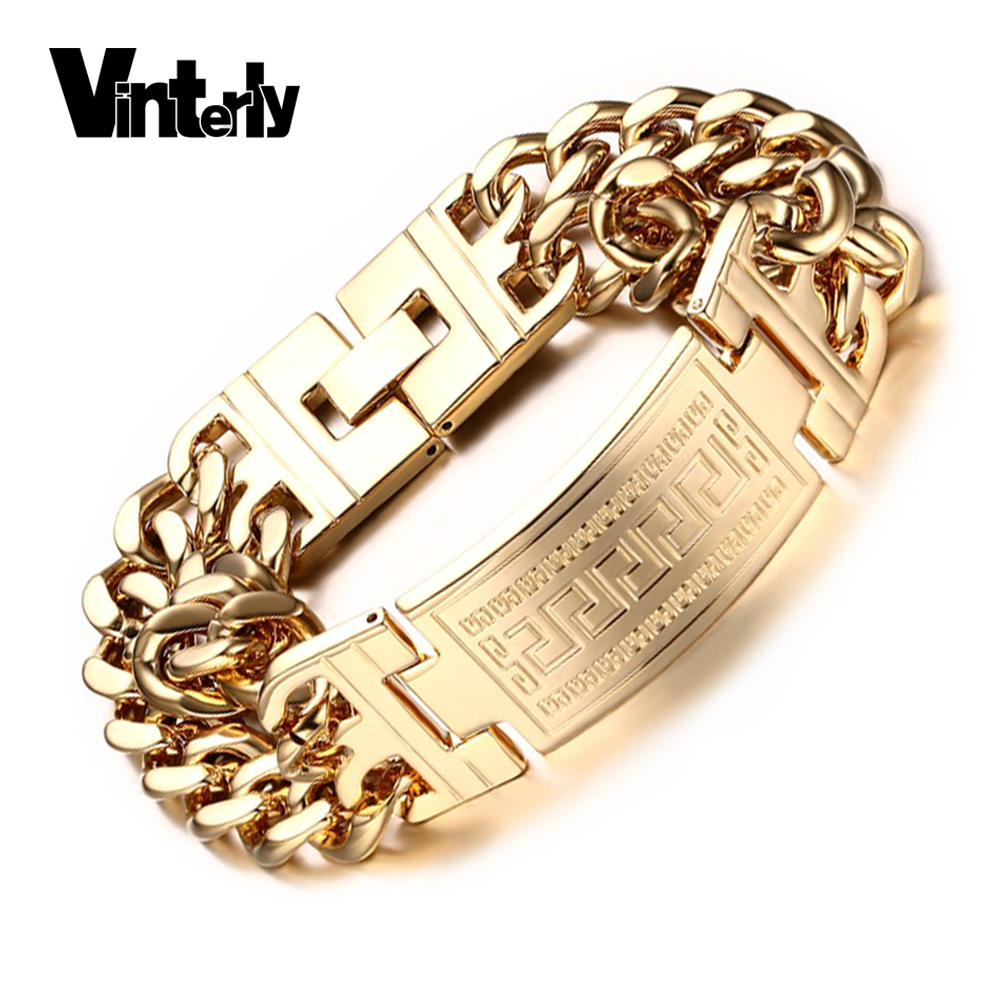 Vinterly Men's 316l Stainless Steel Jewelry Great Wall Pattern Gold Color  Double Hand Chain Men Bracelet Bangle For Male