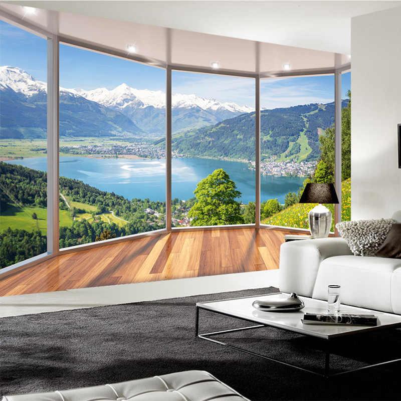 Пользовательские 3D Настенные обои современный креативный балкон французское окно природа пейзаж фото обои Гостиная Спальня домашний декор