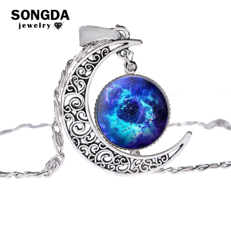Tafree Full Moon Bangle Astronomy Solar System Outer Space Art Bracelets Glass Cabochon Dome Picture Silver Plated Jewelry D793 Jewelry & Accessories Bracelets & Bangles